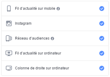 emplacements facebook