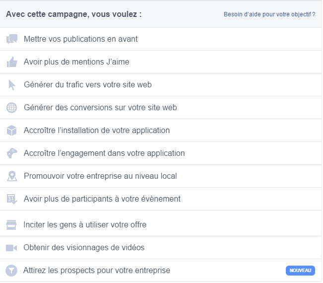 gestionnaire campagnes facebook