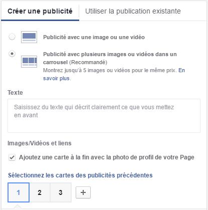 publicité caroussel facebook
