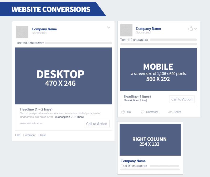 dimensions publicités facebook