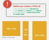 dimensions publicités google+