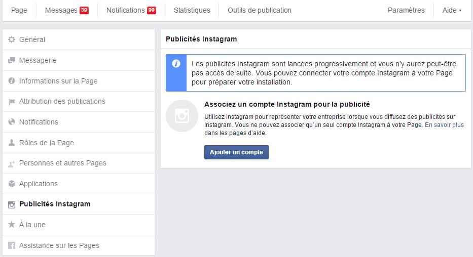 connecter facebook instagram
