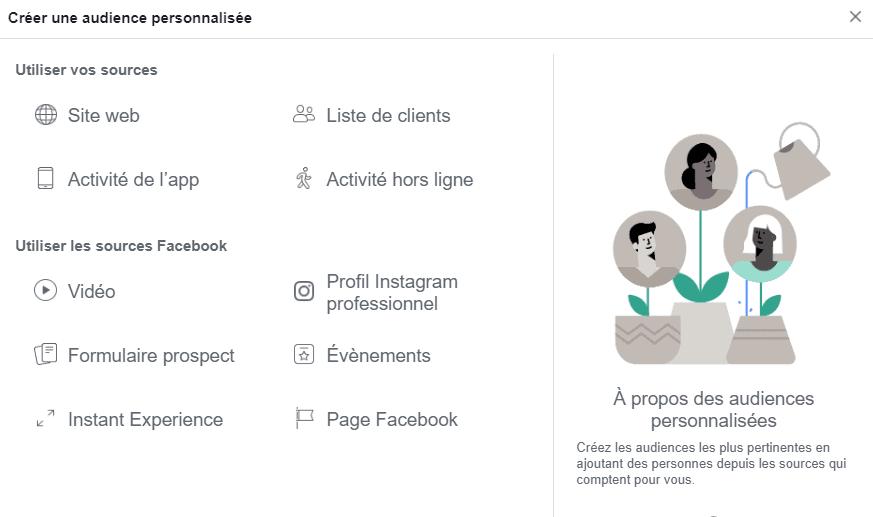 configurer audiences facebook