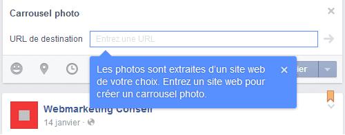 créer un carrousel facebook