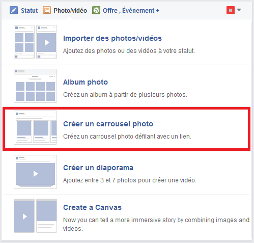 publication carroussel facebook