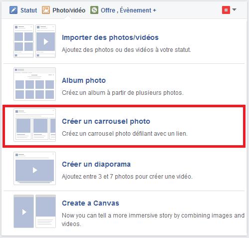 publication carrousel facebook