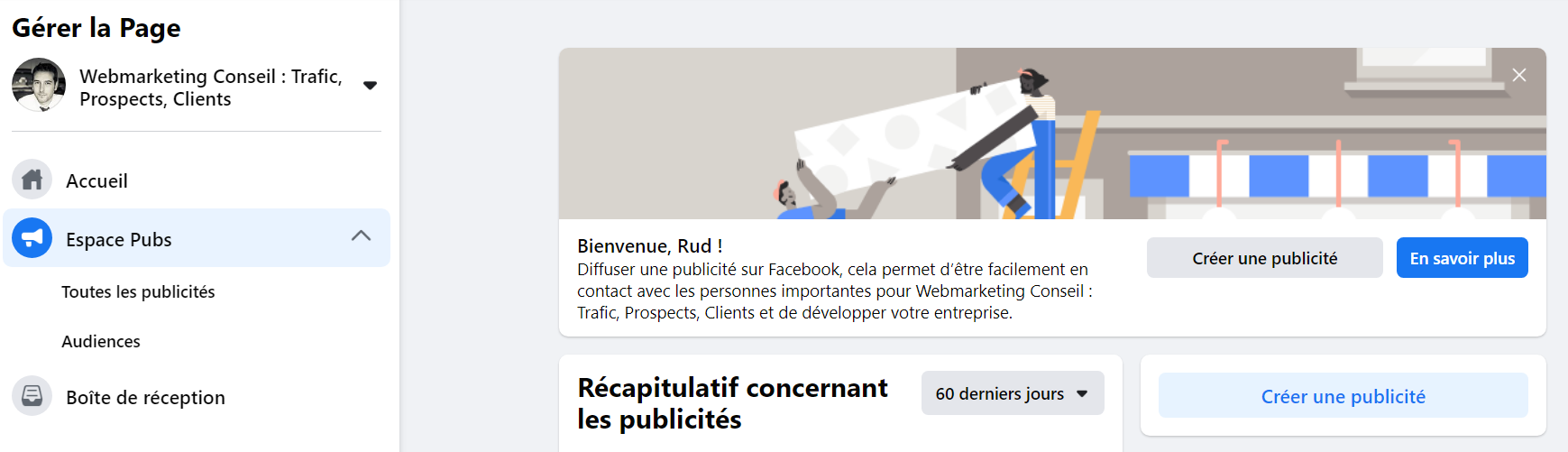 publicité facebook interface