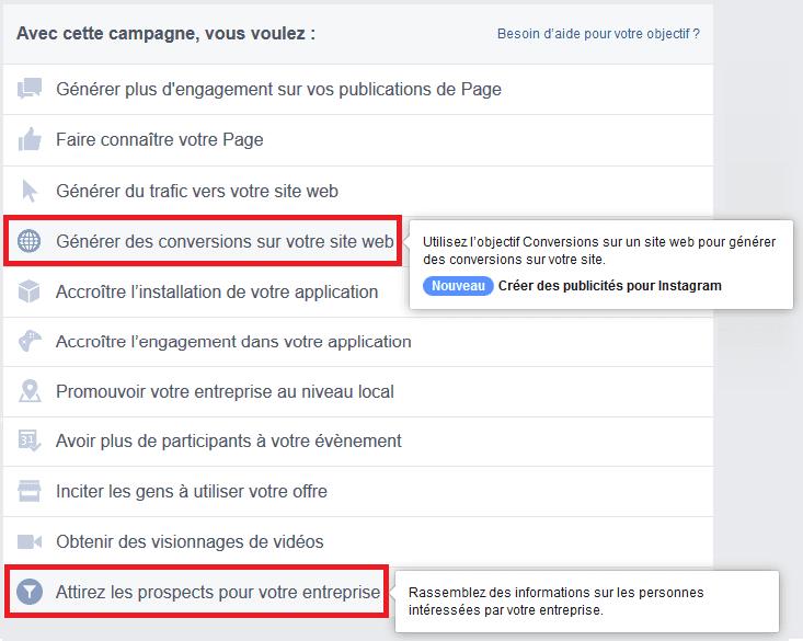 publicité facebook leads
