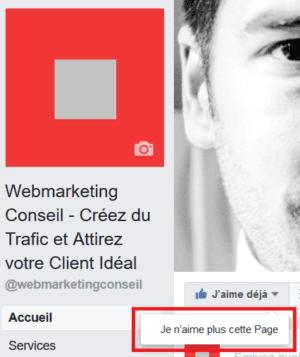 désabonner page facebook