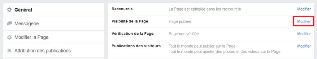 désactivation page facebook