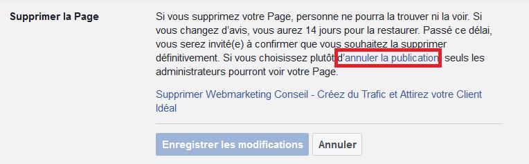 désactiver page facebook