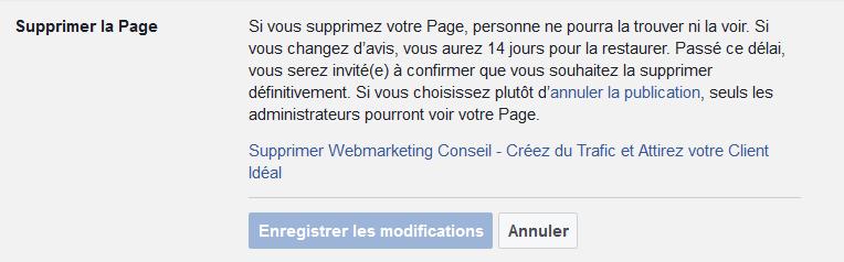 effacer page facebook