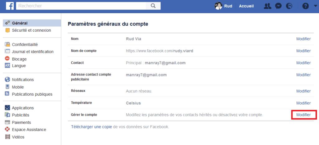 désactiver facebook