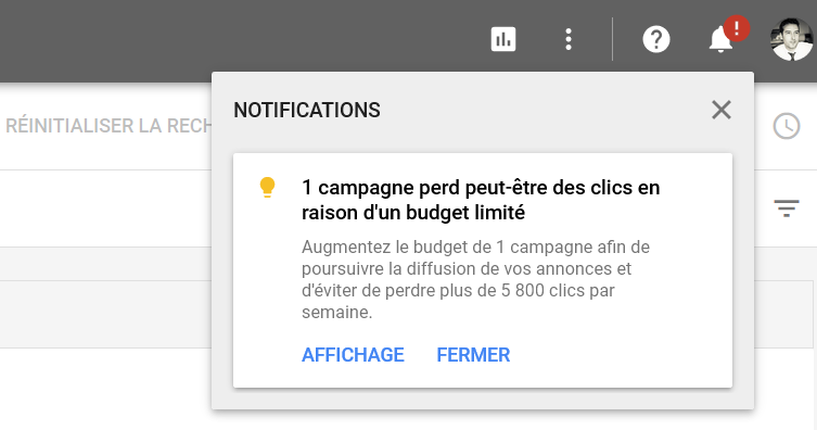 alertes adwords