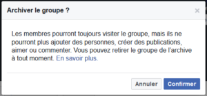 archivage facebook groupe