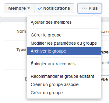archiver groupe facebook