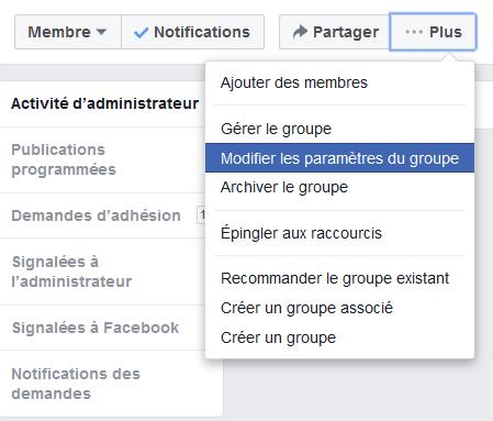 désactiver groupe facebook