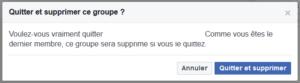 effacer groupe facebook