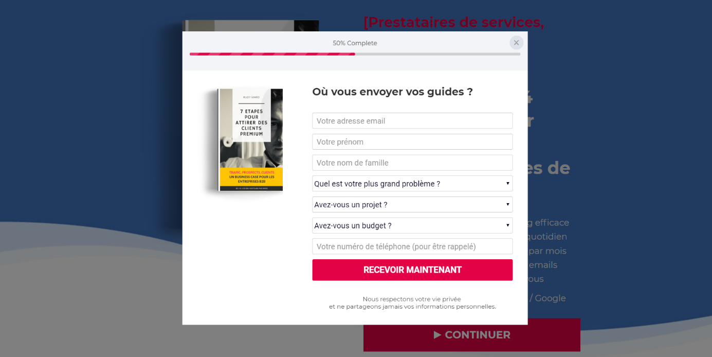 page collecte prospects