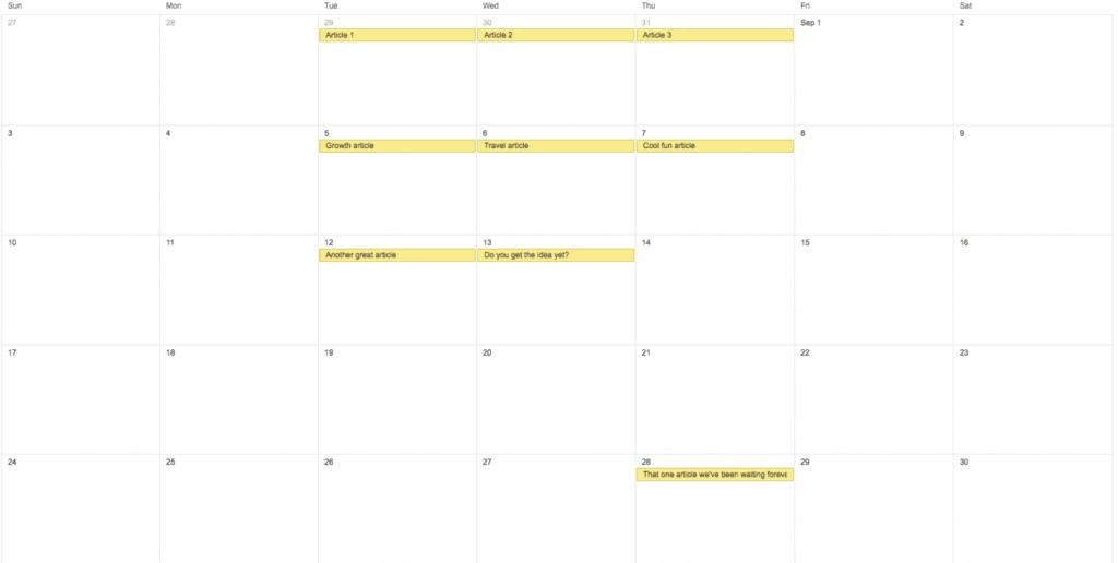 calendrier publication blog