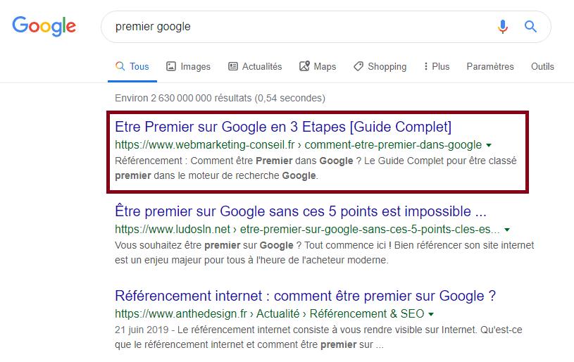classement google