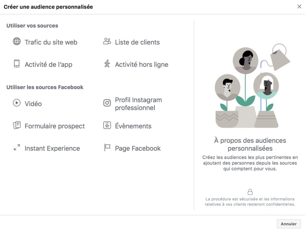 audiences personnalisées Facebook