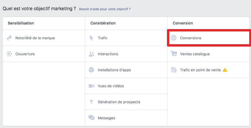 campagne facebook conversions