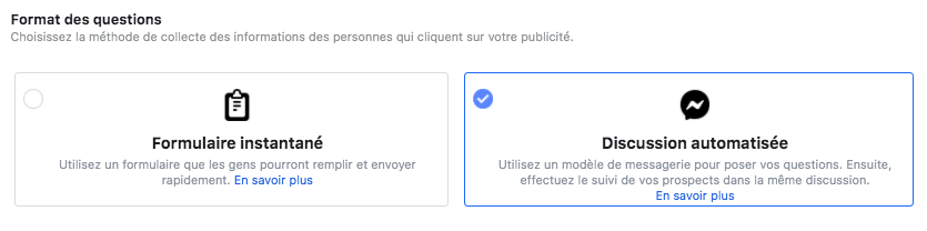 campagne facebook messagerie