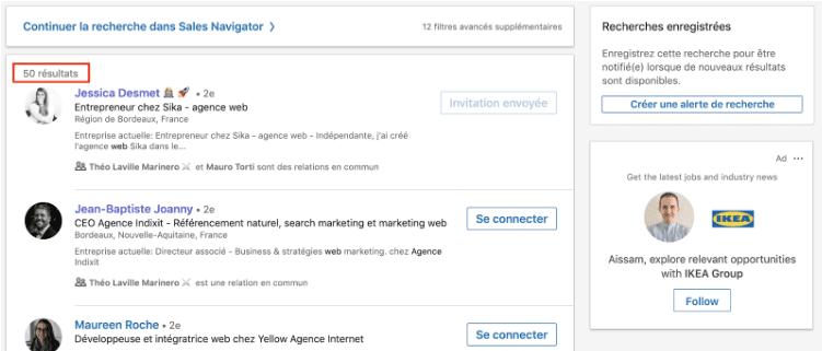 filtrer profils linkedin