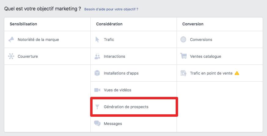 génération prospects facebook-ads