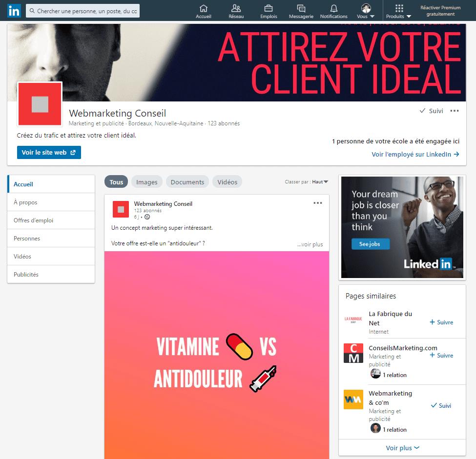page linkedin entreprise