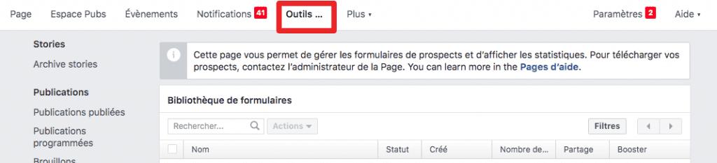 récupérer leads facebook