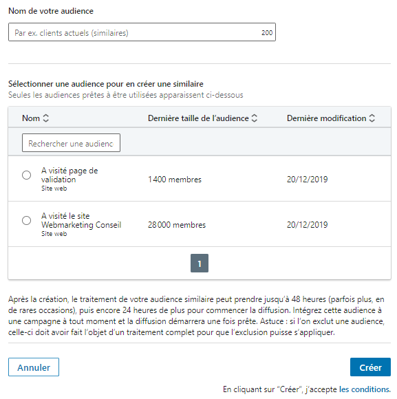 audience similaire linkedin