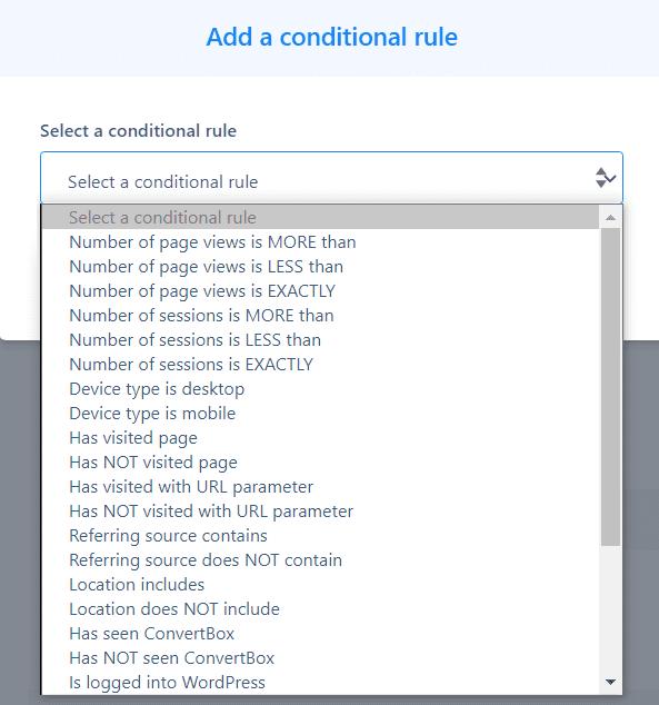 conditions pop-ups