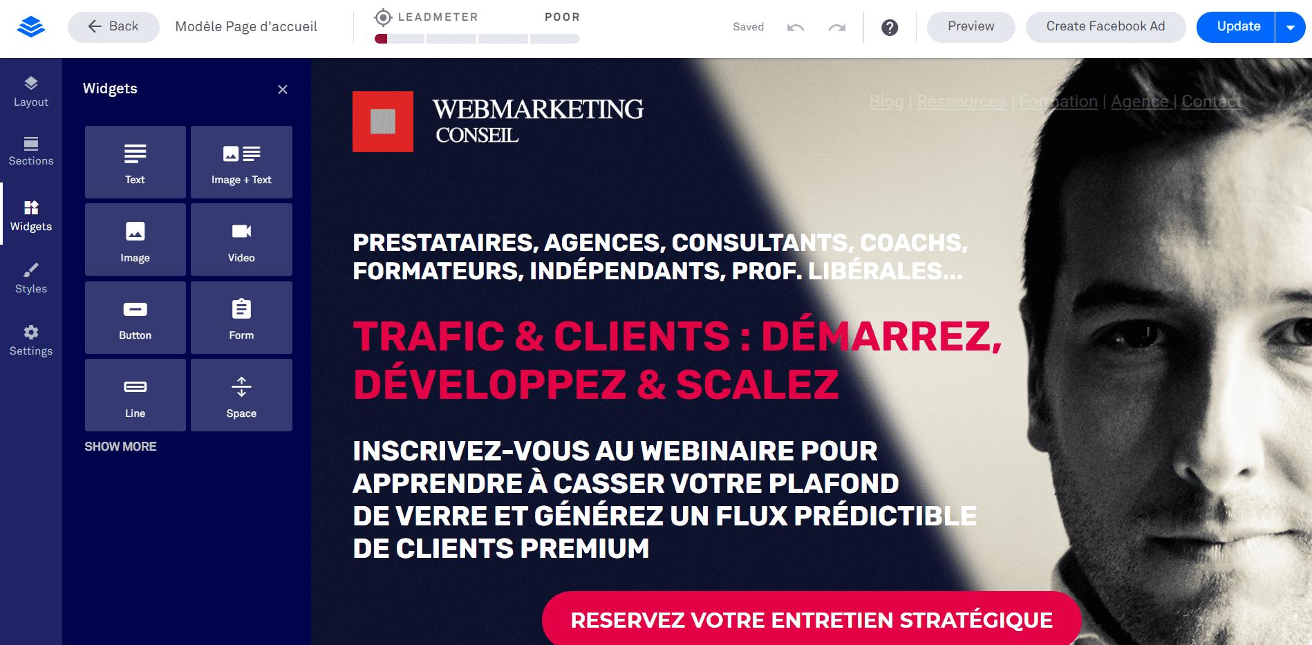créer page offre